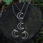 Crescent Moon minimal Necklace Earrings