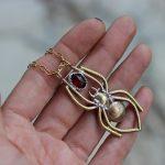 Golden Spider with Garnet necklace 1