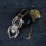 Golden Spider with Garnet necklace